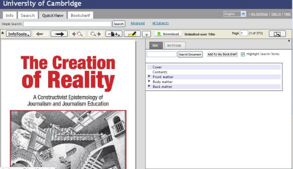 ebrary reader screen